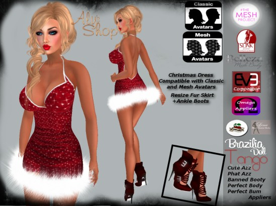 Christmas Dress Fur Skirt with Appliers